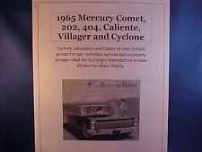 1965 Mercury Comet factory wholesale cost/dealer sticker prices for car+options