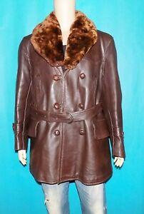canadienne vintage 1940 en cuir marron avec col mouton amovible taille XL