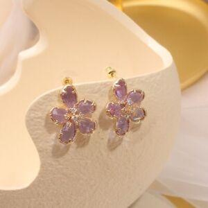 Sterling Silver Post Stud Zirconia Crystal purple Pedals Earrings valentine sale