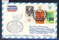 58248) LH FF Berlin - Prag 29.3.92, Karte ab UNO New York TAB