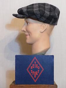 CASQUETTE GATSBY  RETRO SPORT vintage cap 1930 1940 ZAZOU  à carreaux gris T57