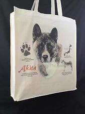 More details for akita dog reusable cotton shopping tote bag with gusset and long handles