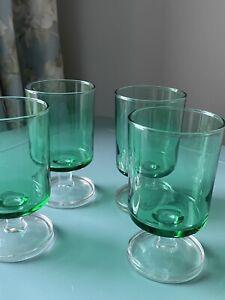 Luminarc France - Vintage Green Liqueur Sherry Retro Glasses x 4 150ml MCM