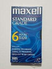 Maxell VHS Blank Video Cassette Standard Grade T-120 6 Hour EP Mode-NEW-