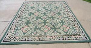 """Vintage Green Ground Floral Lattice Wool Hooked Rug 87x112"""" As Is Repurpose Repa"""