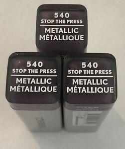 (3) Covergirl Exhibitionist Metallic Lipstick, 540 Stop The Press