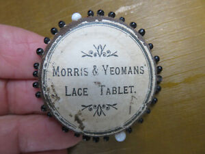 OLD ANTIQUE MORRIS & YEOMANS LACE TABLET SEWING PINS