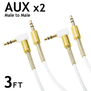 HEADPHONE AUX 3.5MM 3FT STEREO TRS HIGH QUALITY RIGHT ANGLE AUDIO CABLE - 2 SET