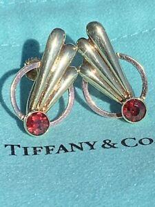Tiffany & Co 14K Rose Yellow Garnet Art Deco Wing Screw Back Earrings Numbered