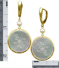14k Lever-Back  Bezel Drop E'rings Rnd.c1780 CHINESE Engv.FLOWER  MOTHER O'PEARL