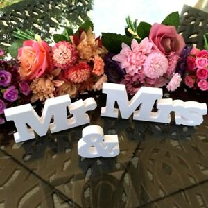 White Mr and Mrs Letters Sign Wooden Standing Top Table Wedding Decoration Hot