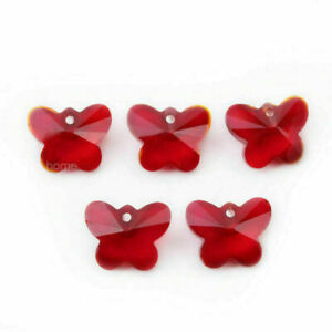 10Pcs 14mm Butterfly Faceted Crystal Glass Charms Pendant Loose Spacer Beads DIY