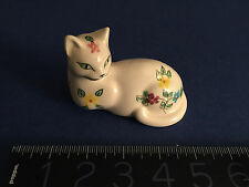 VINTAGE SECLA POTTERY MINIATURE CAT - PORTUGAL- HAND PAINTED stamped