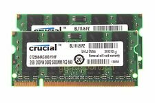New 4GB Crucial 2X 2GB DDR2 PC2 6400 800mhz 200pin CL6 Sodimm RAM Laptop Memory