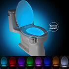 LED Toilet Bathroom Night Light Human &Motion Activated Seat Sensor Lamp 8Colors