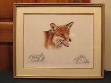 Ann Seward firmado LIMITED EDITION impresión de zorro rojo 1994 in (approx. 5064.76 cm) Marco Dorado