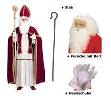Nikolaus Kostüm Bischof - Gr 2XL/3XL + Deluxe Perücke mit Bart  + Stab + HS