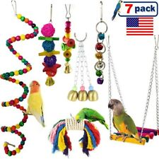 New listing 7Pcs Bird Ladder Swing Toys Play Set fun Colorful Hanging Bells for Bird Cages