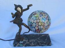 Antique Art Deco Bronze Gerdago Pixie Lamp w/ Milifiore Glass Globe 1925-30