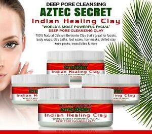 Aztec Secret INDIAN HEALING CLAY 100% Natural calcium bentonite Face Mask 40g