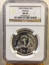 China 1993 1/2 Oz 999 Silver Panda 5 Yuan Coin NGC MS69 SN: 3979454-021