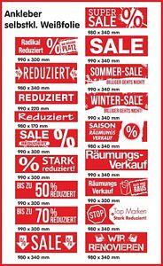 Ankleber, Schaufenster, Räumungsverkauf, Umbau, Abverkauf, Reduziert,Sale,Aktion