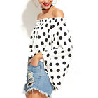 Summer Women Top Blouse Polka Dot Off Shoulder Long Bell Sleeve Oversize T-shirt