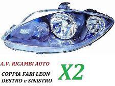 COPPIA FARI FANALE PROIETTORE ANTERIORE DX - SX SEAT LEON DAL 2005 AL 2009 H7-H1