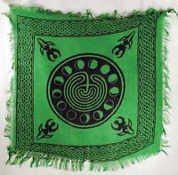"""Altar Cloth Celtic Goddess and Phases 18"""" x 18"""" Green and Black Tarot Wicca"""