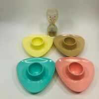 Vintage Retro Set of 4 Soft Boiled Egg Plates Dishes With Egg Timer