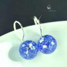 18k gold gp made with SWAROVSKI crystal ball round stud drop earrings 925 silver