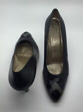 EVINS Black Leather Classic Pumps Heels Woman's Sz 9B Made In Italy
