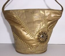 GORGEOUS GOLD LEATHER SUN DETAIL EMBOSSED SHOULDER BAG made In USA