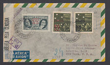 Brazil Sc C45, C55v, C57 on 1944 Censored Registered Air Mail Cover, Error.