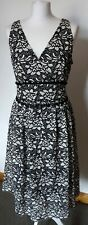 M&S Collection Black And White Embroidery Anglais Dress size 14 BNWT Fit & Flare