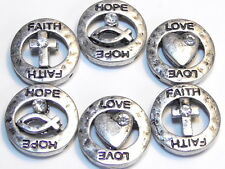 """6 - 2 HOLE SLIDER BEADS ANTIQUED SILVER HAMMERED """"FAITH HOPE LOVE"""" CLEAR CRYSTAL"""
