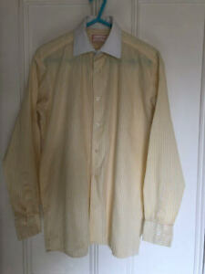 """Mrs. Candy's 13.5"""" Canary and White Striped Showing Shirt White Collar"""