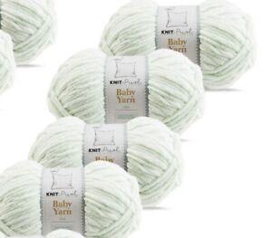SO CRAFTY BABY YARN seafoam mint 4 X 100g PACK 400g aldi chenille wool