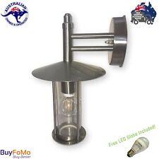 Modern Coach Light Stainless Steel and Glass External Wall Lantern + LED Globe
