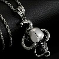 Hiphop Rocker Skull & Snake Stainless Steel Pendant Necklace For Men Best...