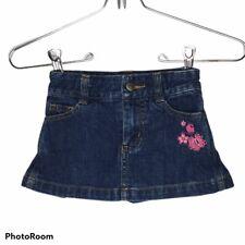 Girls Size 2T Carhartt Denim Skirt Pink Floral Embroidery Adjustable Waist