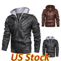 US Men's Slim Faux Leather Hooded Zipper Coat Motorbike Motorcycle Biker Jacket