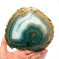Blue Agate Slice with Quartz Crystal 16.5cm x 15cm Polished Large Geode Slice