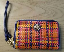 TORY BURCH Jane Woven Leather Smartphone Wristlet Multicolor EUC