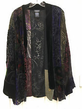 DRESSBARN WOMAN Patchwork Velvet Burnout Open Jacket Top 1X