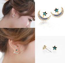 Fashion Womens Moon Pentacle Star Crystal Rhinestone Huggie Party Stud Earrings