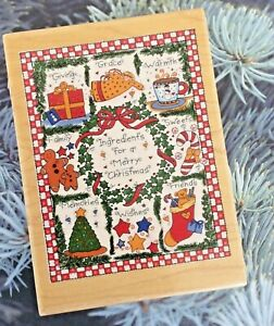 Christmas Ingredients Wood Mount Rubber Stamp Recipes Holiday Baking Bakery Shop