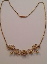 Charming Delicate Victorian 9ct Gold & Seed Pearl Set Necklace