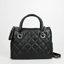 91a962f8641882 Chanel Black Leather Diamond Quilted Small Chain Tote Bag with Antique  Hardware
