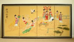 Hand painted vintage style Chinese Godesses 4 panel folding silk screen painting